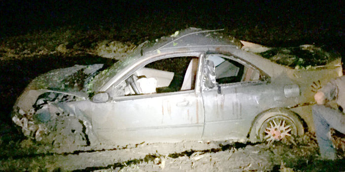 The damaged vehicle operated by Travis M. Mrozinski. (Photo provided)