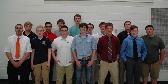 WAWASEE HIGH SCHOOL BUILDING TRADES — Building Trades students are, from left, in front, Nicolas Carr, Joshua Webber, Braydon Spore, Samuel Griner, Hunter Magiera, Michael Sautter. In back are Allen Bontrager, Daniel Pedroza, Jordan Graham, Caleb Bolt, Logan Long, Christian Hensley, Austin Burkholder, Jordan Roe. Not pictured are Jeffrey Moore and Carlos Maolagon.