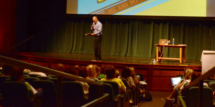 Teachers laugh along with children's author Jeff Anderson as he relates stories to the world of teaching. (Photos by Amanda McFarland)