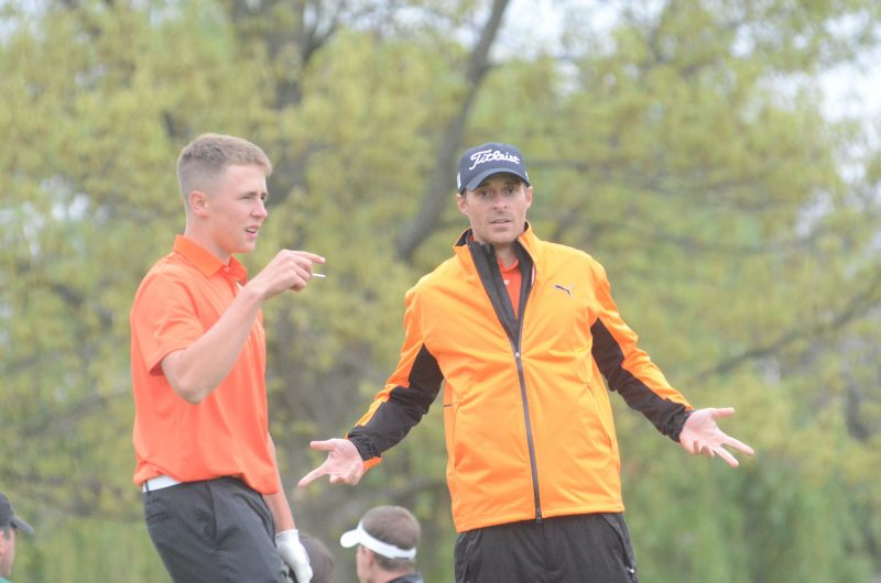 "Former Warsaw boys golf coach Ben Barkey was not always serious on the course. Barkey ""hams"" it up for the camera during a match in 2015 (File photos by Scott Davidson)"