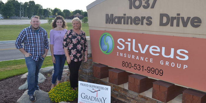 Pictured from left are Silveus Insurance Group Senior Software Developer Henry Crans, Gradway Director Brittany Lyon and Silveus Insurance Group Marketing Coordinator and Silveus Charitable Board member Danielle Spurgeon. (Photo provided)