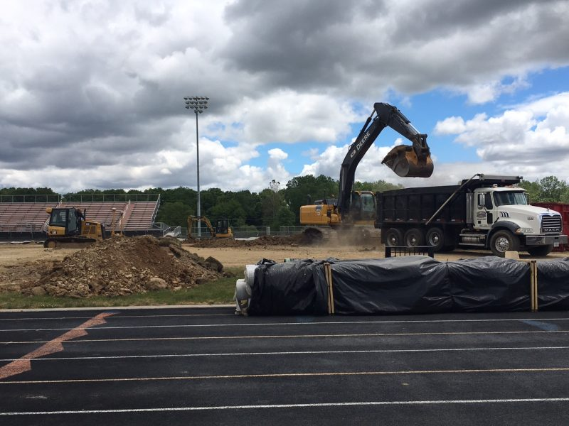 The project to install field turf at WCHS began in earnest in late May (Photo provided by Dave Anson)