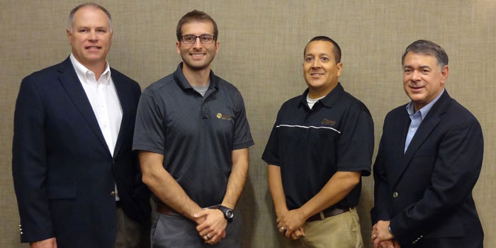 Pictured from left are Joe Horner, agricultural economist, University of Missouri; Seth Thompson and Jeremy Bender, Interra agribusiness lenders; and Dr. Freddie Barnard, professor, Purdue University. (Photo provided)
