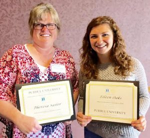 Recently Purdue University's Indiana Watershed Leadership Academy held its graduation ceremony in Indianapolis. Theresa Sailor, left, watershed coordinator for the Clean Waters Partnership and Eileen Oaks, marketing and outreach specialist for The Watershed Foundation, received professional certificates in watershed management from Purdue University. (Photo provided)