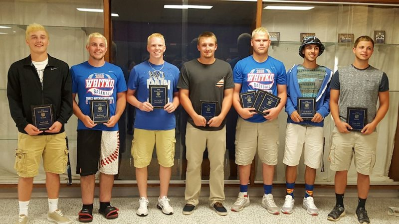 Pictured are Whitko's plaque winners, from left to right, Landen Goff, Zach Hewitt, Drew Bradford, Garrett Smiley, Tanner Gaff, Alex Bechtold and Hunter Sroufe. (Photo provided)