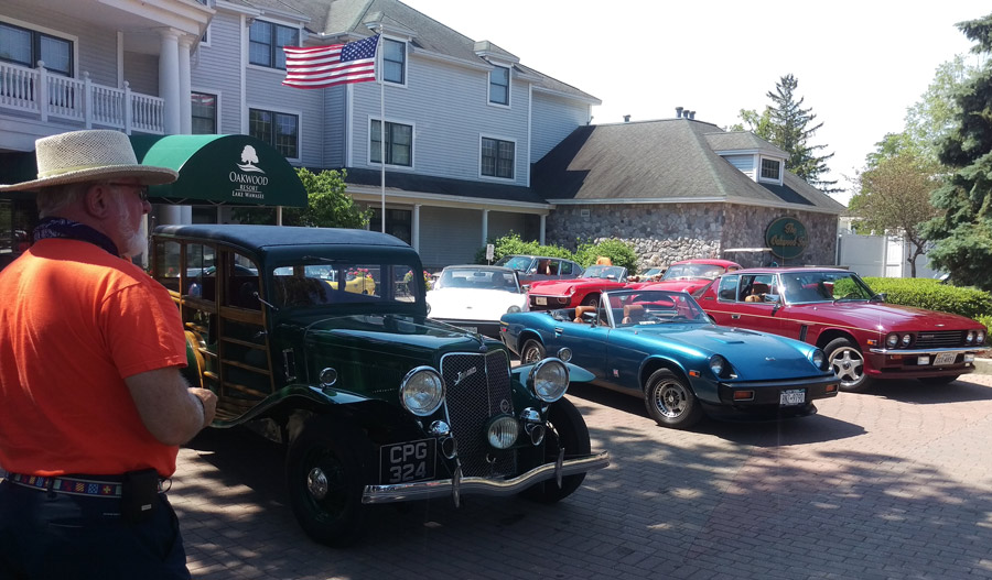 The Jensen shown to the left in the photo is a 1937 Jensen Shooting Brake, the only one in the world. Other Jensens on shown lined up at the entrance to Oakwood Resort. The Jensen East 2016 Crossroads of America Tour was at Oakwood Resort June 8-12. (Photos provided)