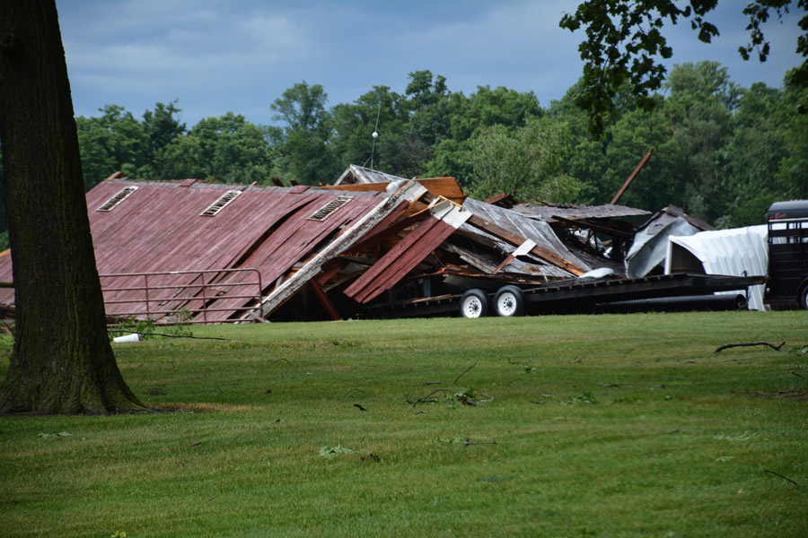 What is left of the barn at the Gary Jenkins property, east of Milford. (Photo by Keith Knepp)