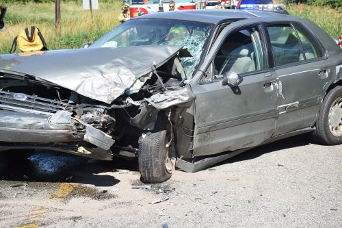 One of the vehicles had significant front end damage.