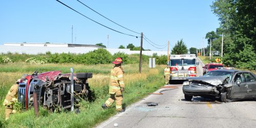 One person was transferred with arm pain from the scene. (Photos by Maggie Kenworthy)
