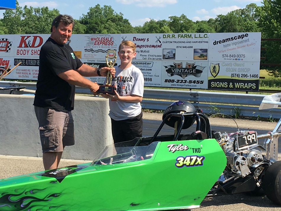 Tyler Kindle took honors at the Ironman races at Osceola Dragway on Sunday. Kindle, 13 from Warsaw, is currently third in the points standings in his class. (Photos provided)