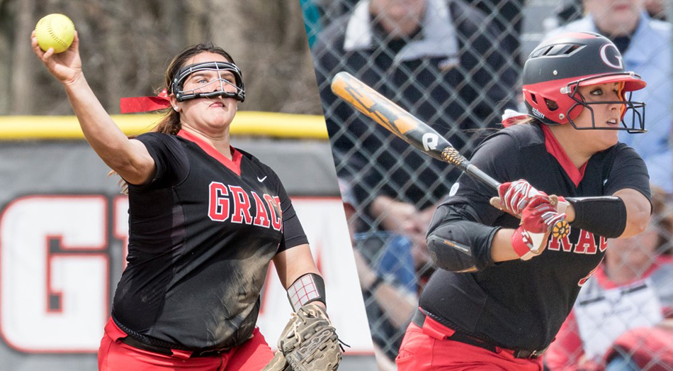 Clarissa Knight, left, and Chandler Elliott were named All-Americans for the Grace College softball team. (Graphic provided by the Grace College Sports Information Department)