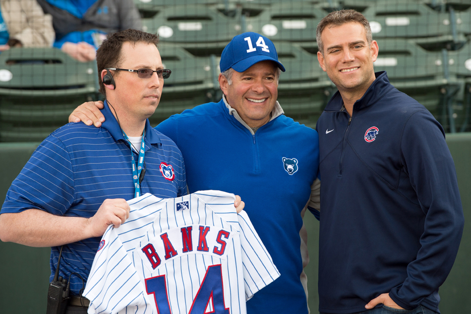 The Chicago Cubs have extended the contract with the South Bend Cubs for three more years. In the photo are South Bend team president Joe Hart, South Bend owner Andrew Berlin and Chicago Cubs CEO Theo Epstein. (Photo by Matt Cashore)