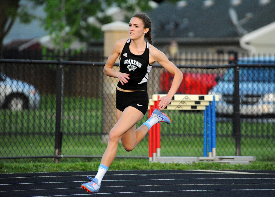 Warsaw Community High School senior Audrey Rich has been a beast on the track this spring, winning a combined 10 event titles since the NLC Championships in early May. (Photos by Mike Deak)