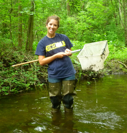 A volunteer stream monitor collects samples from a nearby river.
