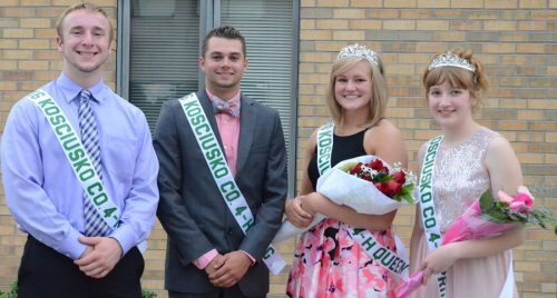 The 2016 4-H Royalty for Kosciusko County are Evan Schmidt, prince; Conner Sausaman, king; Ashley Beer, queen; and Analiese Helms, princess. (Photo by Deb Patterson)
