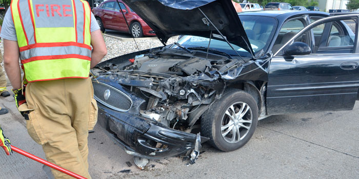 Side view of vehicle involved in a three-vehicle crash on Detroit Street