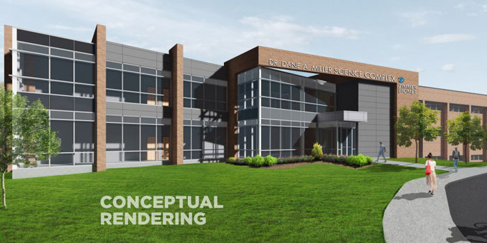 A conceptual image shows an artist's rendering of the new science building. (Image provided)