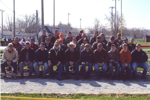 """Some of the approximately 150 participants in the 2015-16 """"Hunting for a Cure"""" pose for a photo after the hunting season. The group harvests coyotes, delivers the pelts for auction and donates the proceeds to the American Cancer Society. Pictured are, front row from left, Rod Frazier, Merrill Tibbets, Ron Norman, Bryon Fites, Bruce Correll, Todd Kirkman, Rodney Gish, Austin Gish, Kole Kirkman and Levi Johnson. Second row: Larry Frank, Vic Hostetler, Wes Frank, Terry Hoffman, Ronald Cunningham, Missy Kirkman, Jarett Houston, Rodney Maxwell and Seth Forgey. Third row: Morris Day, Kevin Teulke, Danny Detweiler, Alex Branch and Kyron Hayden. Back row: Jim Mitterling, Greg Groninger, Austin Malott, Travis Zile and Rudy Detweiler. (Photo provided)"""