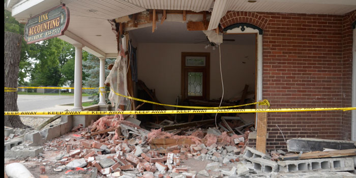 Front of Link Accounting on 405 S. Main St., North Webster after the July 27 crash (Photos by Michelle Reed)
