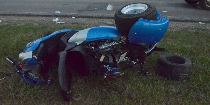 Moped that was struck by a semitrailer on Old Road 30 and CR 520W (Photos by Michelle Reed)