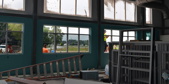 An interior shot of Washington's STEM lab shows where the windows will go.