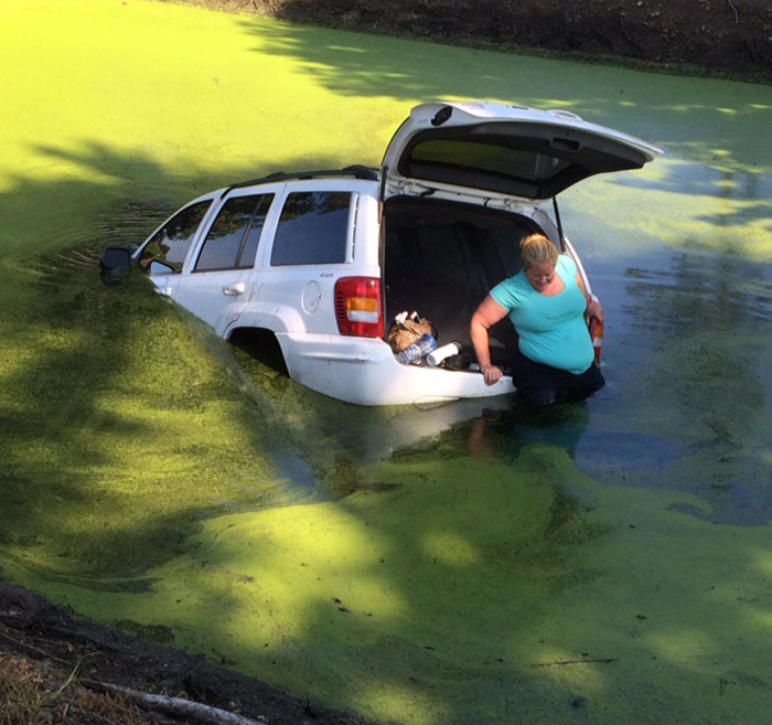 John Smeltzer provided this photo shortly after the accident occurred, showing Stephanie Yoder exiting her vehicle.