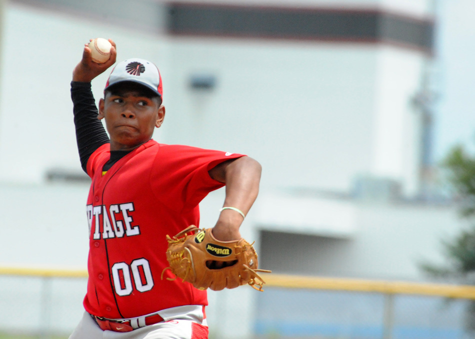 Juan Ramos of the Portage Tribe 13U sends an offering home Friday at the BPA World Series. (Photos by Mike Deak)