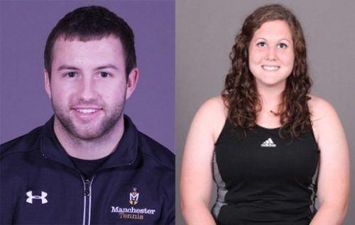 Manchester University tennis players Kyler Love, left, and Katy Ashpole were among several named academic All-Americans. Both Love and Ashpole are Wawasee High School graduates.