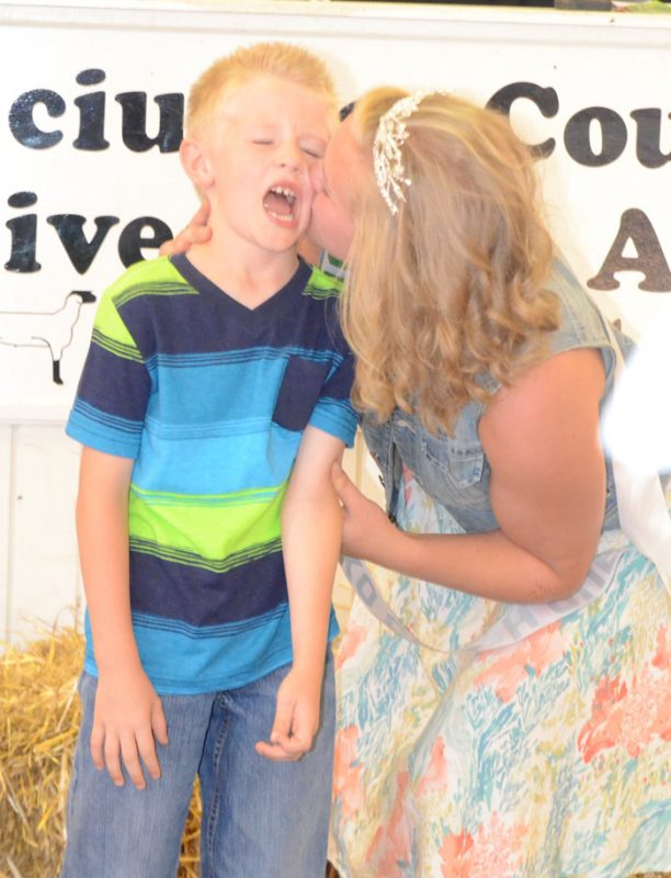 Aiden Beer, brother of 4-H Queen Ashley Beer received the Queens Kiss.