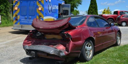A Pontiac was rear ended on SR 15 and 350 S,