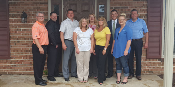 Pictured in front from left are Stacy Damron, Tina Jones and Brittany Boschet of Protechs, Inc., Kosciusko Chamber Ambassador. In back are Chamber President and CEO Rob Parker, Chris Helton, Tripp and Associates President Gavin Tripp, Connie Curry, Chamber Ambassador Chris Hanson, 1st Source Bank, and Tripp and Associates Vice President Sean Tripp. (Photo provided)