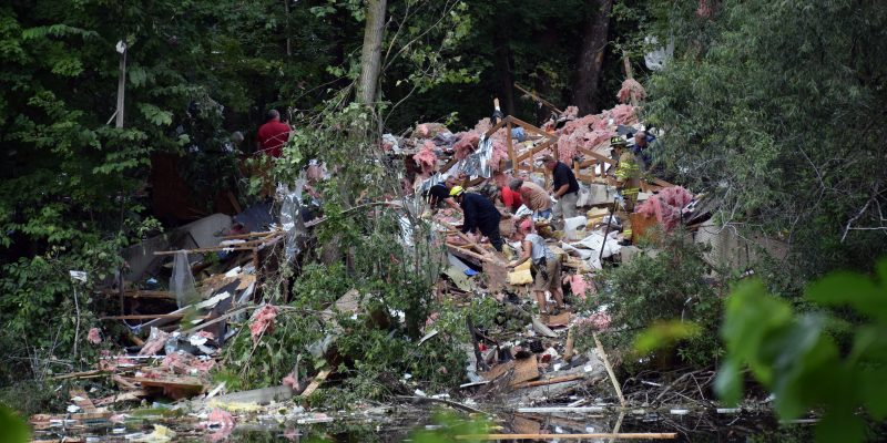 Crews search through the rubble. (Photos by Maggie Kenworthy)