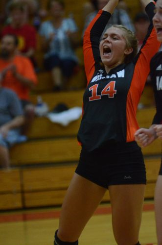 Stellar sophomore setter Kacy Bragg had plenty to celebrate Tuesday night. Bragg helped Warsaw to a huge 3-1 win at Elkhart Memorial in their NLC opener.