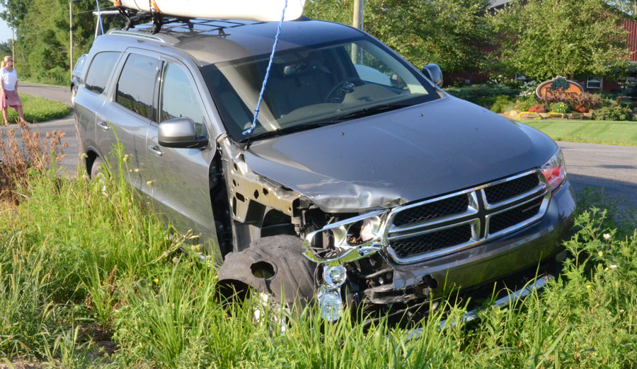 This Dodge sustained right front end damage in the accident. (Photos by Deb Patterson)