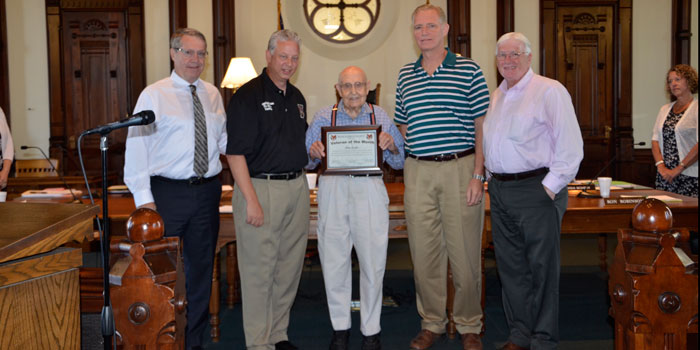Honoring Don From left are; Ron Truex, Rich Maron, Veteran of the Month Don Locke, Brad Jackson and Bob Conley