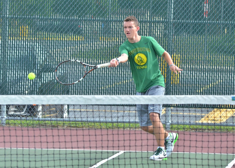 Dylan Staley picked up the win at No. 1 singles for Wawasee Tuesday night. (Photos by Nick Goralczyk)