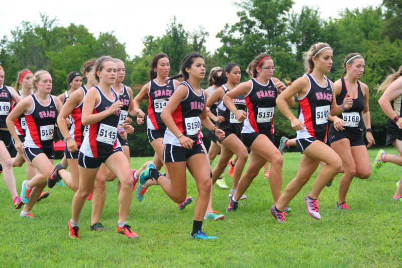 The Grace College women's cross country team had seven of the top 11 runners in the Westville Invitational Friday (Photo provided by the Grace College Sports Information Department)