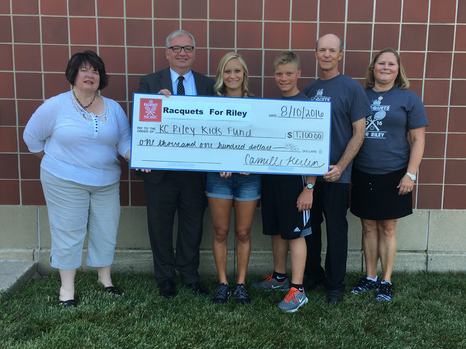 Racquets For Riley donated $1,100 to the Kosciusko County Riley Kid's Fund. From left to right are Brenda Ridgon of KCCF, Mike Bergan of KC Riley Kid's Fund, Camille Kerlin, Carson Kerlin, Rick Kerlin and Diane Kerlin.