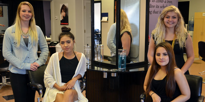 Pictured from left are four of this year's cosmetology students through the Warsaw Area Career Center, including senior Hannah Jones, juniors Vanessa Ortega and Yessica Ursua and senior Harley Shuster. (Photos by Amanda McFarland)