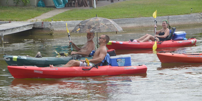 John Leatherman, Drew Preston and Jennifer Leatherman heading to shore (Photos by Michelle Reed)
