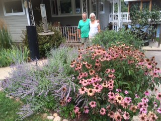 I am enjoying the look of this fabulous colorful garden belonging to our neighbors Diane and Larry Clough on Papakeechie Lake.