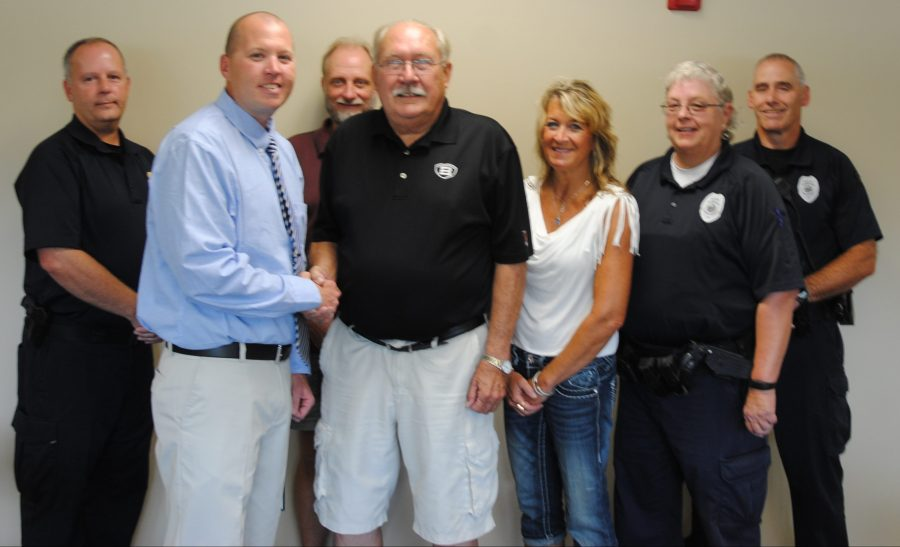 North Webster Town Council met the newest member of the North Webster Police Department, Dan Buell, at the Tuesday, Aug. 16, meeting. In front, from left, are Buell, Town Council President Jon Sroufe, Town Council Member Lisa Strombeck and Officer Candace Smythe. In back are Police Chief Greg Church, Town Council Member David Waliczek and Officer Dave May.