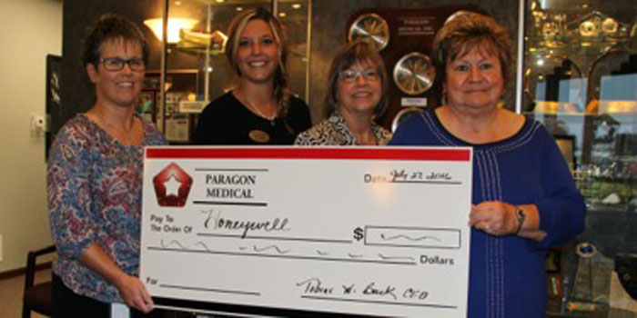 Pictured from left are Tabitha Cooper, marketing, communications and project manager; Michelle Struble, Honeywell Center corporate development officer; Ellen Mock, Honeywell Center corporate relations manager; and Donna Fisher, Paragon Medical corporate administrator. (Photo provided)
