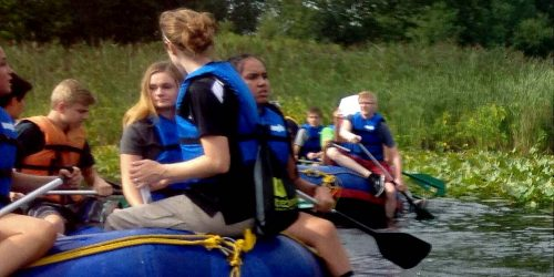 The Center for Lakes & Streams at Grace College assisted at the annual Water Drop rafting trip, a program of the Kosciusko County Soil and Water Conservation District also organized by other local partners. Warsaw Community High School Freshmen rafted through the waters of Grassy Creek and into Lake Tippecanoe.