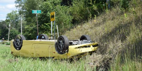 One driver was transferred after a rollover accident. (Photo by Maggie Kenworthy)