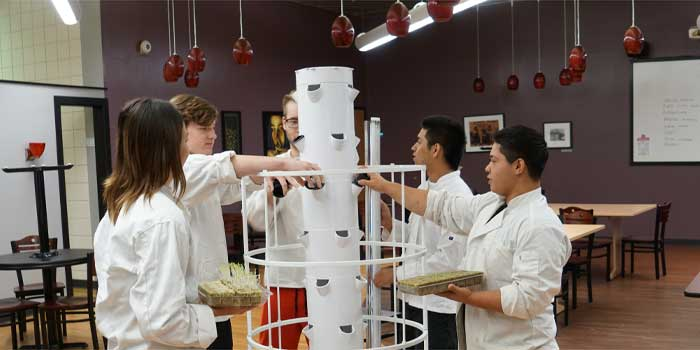 Warsaw Community Schools has tower gardens in each of its schools. In the photo are students, from left, Olivia Najera, Isaac Netzley, Nathaniel McFarland, Oscar Zaca and Mario Carvajal in the student-led Blue Apron Restaurant that is part of the Warsaw Area Career Center, located at Warsaw Community High School and taught by Chef Mark Bragg. The Blue Apron restaurant utilizes the produce and herbs in the kitchen that were planted in the tower garden. (Photo provided)