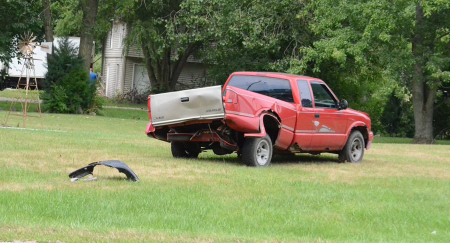The back of this Chevrolet S10 was struck in a two-vehicle accident. No injuries were reported.