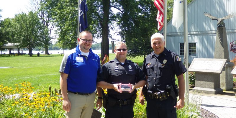 Photo Left to Right: Scott Sigerfoos, EMS Director Lutheran EMS, Officer Ryan Reed and Joe Hawn Chief of Police.