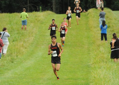 Warsaw's Zeb Hernandez leads the freight train down the hill.