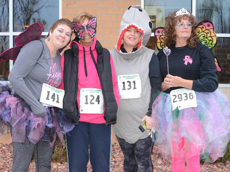Just four of the participants dressed in costume for last year's event.